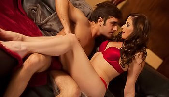 Babe in red lingerie gets fucked