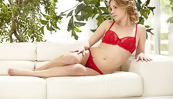 Tender blonde in red lingerie gets banged