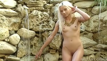 Sexy blonde is touching herself