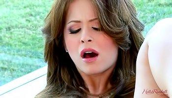 Horny brunette is demonstrating great masturbation skills