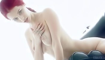 Ginger woman is fingering pussy