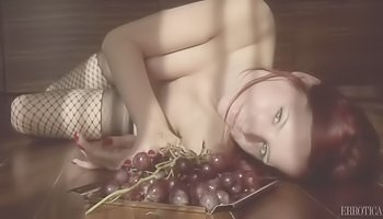 Sexy babe is eating fruits alone