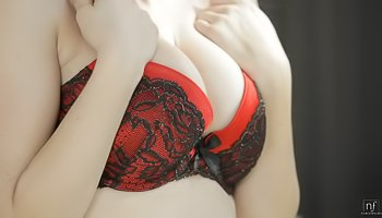 Big-tittied blonde is enjoying sweet solo