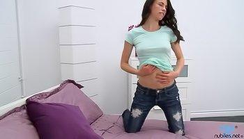 Juicy brunette loves fingering her vagina