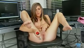 Hot chick is dildoing her shaved pussy