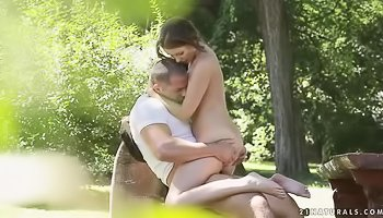 Hot lovers are having sex outdoors
