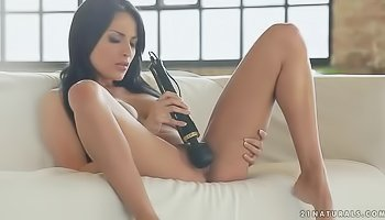Absorbing princess masturbating with massive vibrator