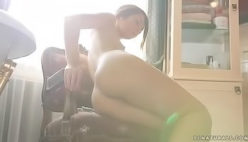 Wet model is masturbating her twat