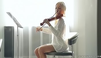 Sweet musician is touching herself