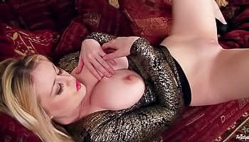 Pale-skinned blonde fucks herself hard