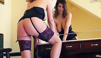 Black stockings brunette loves what she sees