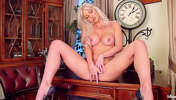 Kinky blonde is masturbating with passion