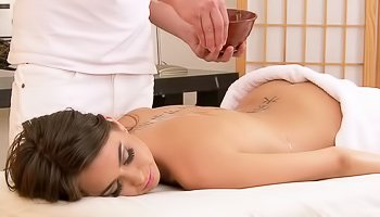 Oily teen fucks her masseur
