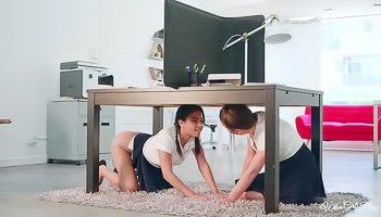 Schoolgirls fuck under the table
