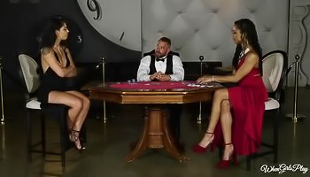 Classy lesbian interracial at the casino