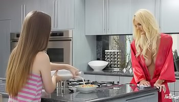 Wild lesbo sex in the kitchen