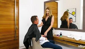 Stockings-clad hairdresser MILF gets ravaged