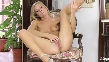 Solo scene with a blonde beauty