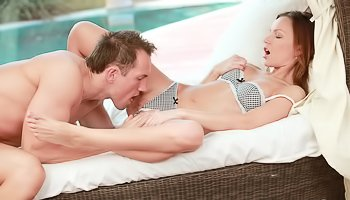 Ginger chick gets fucked hard outdoors