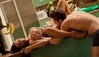 Strong man is getting her cock sucked