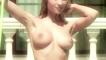 Cute babe is having solo outdoors