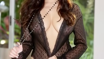 Busty model in stockings is touching herself