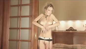 Yummy blonde is touching herself