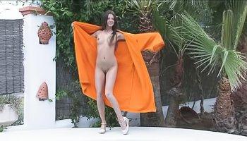Horny brunette loves taking shower alone