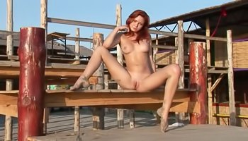 Outdoors solo from redhead chick