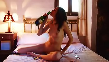 Hot girl is playing with black dildo