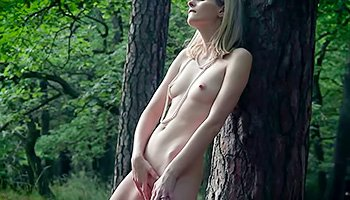 Fabulous blonde playing in the woods