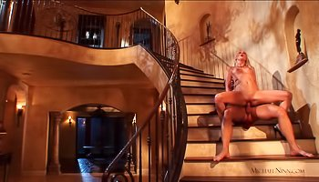 Fucking skinny blonde on the stairs