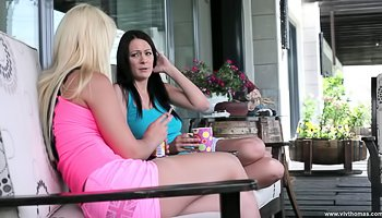 Hot blonde is fucking with brunette lady