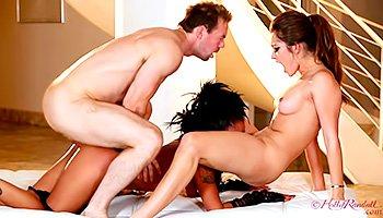 Slutty princesses enjoying hardcore threesome sex