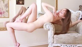Horny madam with long hair is masturbating