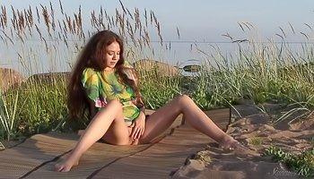 Lovely girl is enjoying sweet solo