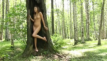 Girl is having solo in the forest