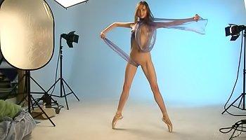 Sexy brunette in the big studio