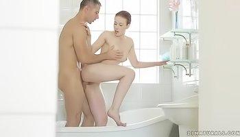 Horny lady gets banged in bathroom