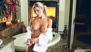 Busty MILF drills her pussy
