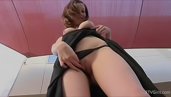 Shy brunette shows her pussy