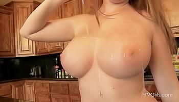 Brunette enjoying skinny dipping and masturbation