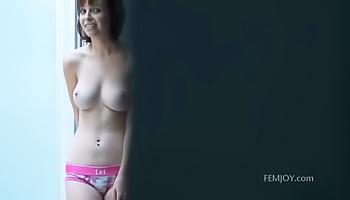 Hot girl with short hair is masturbating