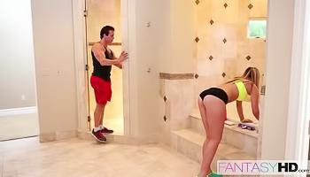 Hot slut is being fucked in shower