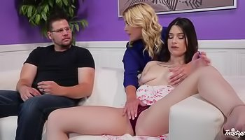 Cuckold watches his wife fuck a MILF