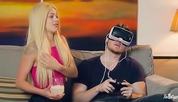 VR cuck and hot lesbian fucking